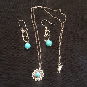 Turquoise & Sterling Silver Earring & Necklace Set
